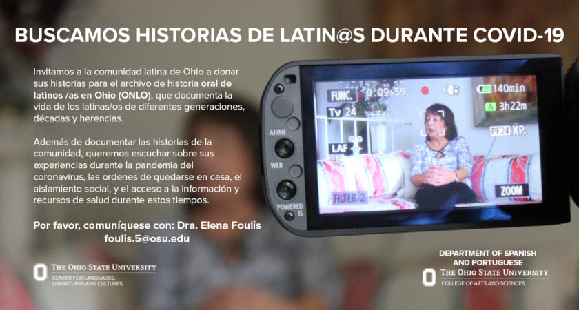 ORAL NARRATIVES OF LATIN@S IN OHIO (ONLO) ON YOUR COVID-19 EXPERIENCES